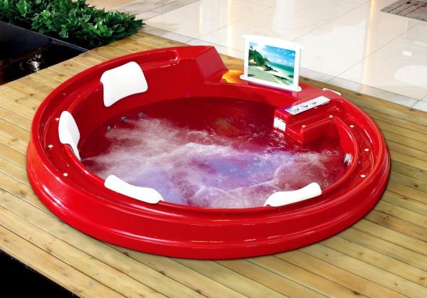 круглая акриловая ванна Gemy G9090 O Red