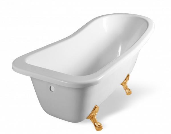 мраморная ванна с высокой спинкой Эстет Царская 150х73 см